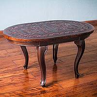 Mohena wood and leather coffee table, 'Ancient Inca Icons' - Pre- Hispanic Theme Tooled Leather and Hardwood Coffee Table