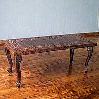 Mohena wood and leather coffee table, 'Vineyard Birds'