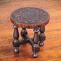 Mohena wood and leather stool, 'Vineyard Birds' (12 inch) - Bird Theme Tooled Leather Round 12 Inch Wooden Stool