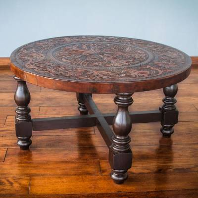 Mohena wood and leather circular coffee table, 'Vineyard Birds' - Tooled Leather Round Wood Coffee Table 31 Inch Diameter