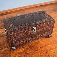 Mohena wood and leather chest, 'Vineyard Birds'
