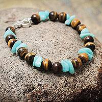 Tiger's eye and amazonite beaded bracelet, 'Harmony' - Beaded Tiger's Eye and Amazonite Bracelet with Silver Clasp