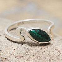 Chrysocolla single stone ring, 'Blue Green Flow' - Chrysocolla Sterling Silver Ring Artisan Crafted Jewelry
