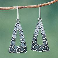 Sterling silver dangle earrings, 'New Moon Pyramids' - Burnished Sterling Silver Triangle Earrings Crafted by Hand