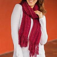 Alpaca blend scarf, 'Fire' - Artisan Woven Alpaca Blend Scarf in Shades of Red