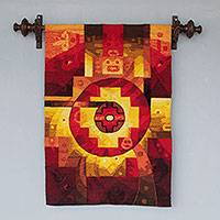 Alpaca blend tapestry, 'Chakana Stars' - Andean Alpaca Wool Blend Hand Woven Tapestry from Peru