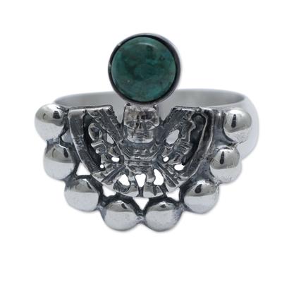Hand Made Inca Theme Blue Green Chrysocolla Silver Ring