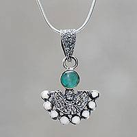 Chrysocolla pendant necklace, 'Iridescence' - Chrysocolla Sterling Silver Necklace Inca Themed Jewelry