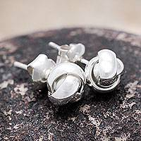 Sterling silver button earrings, 'Love Knot' - Andean Hand Made Sterling Silver Button Earrings