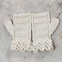 100% alpaca fingerless mittens, 'Pale Petals' - Off White Hand Knitted 100% Alpaca Fingerless Mittens