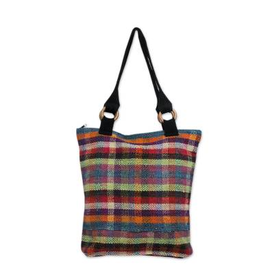 Brightly Colored Wool Plaid Handwoven Tote Purse