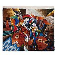 Wool tapestry, 'Inca Gods of the Sea' - Marine Theme Signed Hand Loomed Wool Multicolor Tapestry