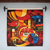 Wool tapestry, 'Inca Sun Guardian' - Inca Mythology Signed Hand Loomed Wool Tapestry from Peru