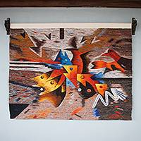 Wool tapestry, 'Meeting Place for Fish' - Eco Theme Signed Hand Loomed Wool Multicolor Tapestry