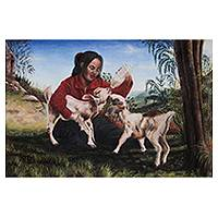 'Tenderness and Trust' - Painting of Little Girl Feeding Goats Signed by Artist