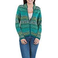 100% alpaca cardigan, 'Andean Countryside' - Women's Alpaca Zipper Cardigan in Grey and Greens