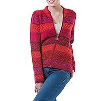 100% alpaca cardigan, 'Roses' - Red Patterned Women's Alpaca Zipper Cardigan Sweater