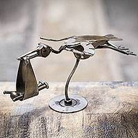 Auto part sculpture, 'Flight of the Stork' - Recycled Metal Stork with Baby Sculpture from Peru