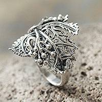 Sterling silver cocktail ring, 'Morgana' (Peru)