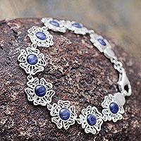 Sodalite flower bracelet,