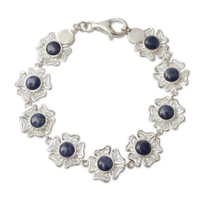 Sodalite on Sterling Silver Flower Link Bracelet from Peru