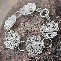 Sterling silver flower bracelet, 'Enchanted Gardenia' - Fair Trade Peruvian Jewelry Sterling Silver Flower Bracelet