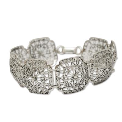 Sterling Silver Bracelet with Floral Openwork Links