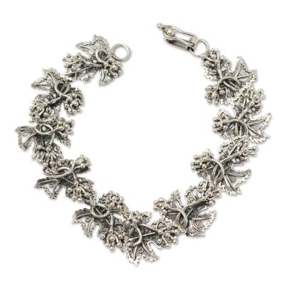 Leaf Shaped Sterling Silver Artisan Crafted Link Bracelet