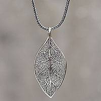 Sterling silver pendant necklace, 'Coca Diamond' - Sterling Silver Coca Leaf Pendant Necklace Artisan Jewelry