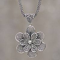 Sterling silver flower necklace, 'Flora' - Sterling Silver Flower Necklace Fair Trade Peruvian Jewelry