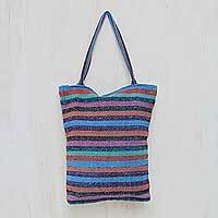 Wool tote bag, 'Multicolor Feast' - Hand Woven Striped Tote Bag with Three Inner Pockets