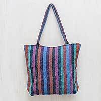 Wool shoulder bag, 'Multicolor Feast' - Striped Hand Woven Shoulder Bag with Three Inner Pockets