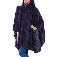 Alpaca blend ruana with scarf, 'Aubergine Arabesques' - Peruvian Alpaca Blend Purple Ruana Cloak with Scarf