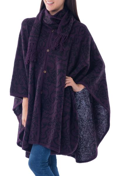 Peruvian Alpaca Blend Purple Ruana Cloak with Scarf