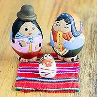Ceramic nativity scene, 'Holy Birth in Puno' (set of 3) - Artisan Crafted 3-piece Ceramic Nativity Scene from Peru