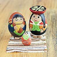 Ceramic nativity scene, 'Holy Birth in Cuzco' (set of 3) - Andean Nativity Scene Handmade Ceramic Figurines (Set of 3)