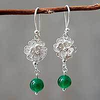 Silver flower earrings, 'Filigree Bouquet' - Hand Made Filigree Silver Flower Earrings with Green Quartz