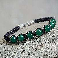 Leather and quartz Shambhala-style bracelet, 'Green Transcendence' - Peruvian Leather Shambhala-style Bracelet with Quartz