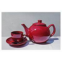 'Time for a Break' - Hyper Real Still Life of Tea Service in Red and White