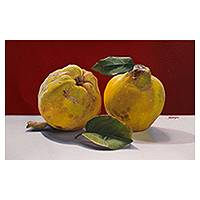 'Autumn in Yellow' - Hyper Real Original Painting of Yellow Quinces