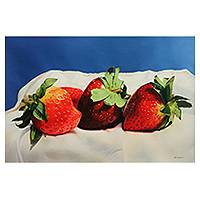 'Fragile and Ephemeral' (2014) - Peruvian Signed Original Oil Painting of Ripe Strawberries