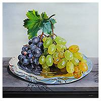 'Fruit that Caresses my Feelings' (2014) - Original Realistic Signed Still Life of Plate of Grapes