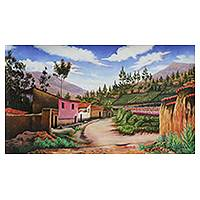 'Pink House' - Original Andean Village Oil on Canvas Painting