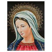 'Virgin Mary' - Gilded Colonial Style Painting of the Virgin Mary