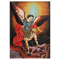 'Saint Michael's Justice for the Devil' - Cuzco School Replica Oil Painting of Satan Defeated