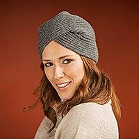 Alpaca blend hat, 'Grey Turban' - Knitted Grey Alpaca Blend Turban Style Hat from Peru
