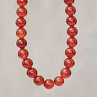 Carnelian beaded necklace, 'Passionate Glow' - Handmade Beaded Carnelian Long Necklace from Peru