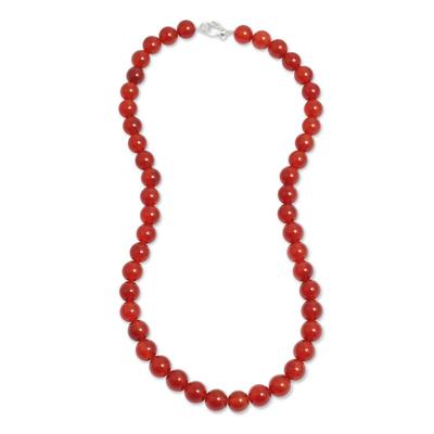 Handmade Beaded Carnelian Long Necklace from Peru