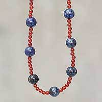 Lapis lazuli and carnelian beaded necklace, 'Magical Contrast' - Lapis Lazuli and Carnelian Handcrafted Necklace