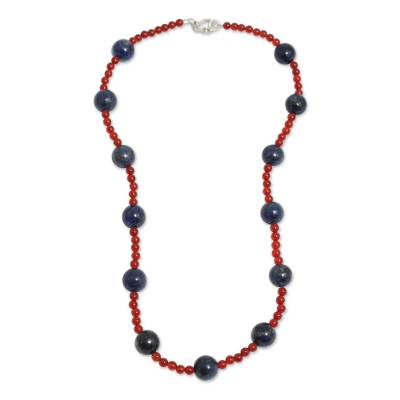 Lapis Lazuli and Carnelian Handcrafted Necklace